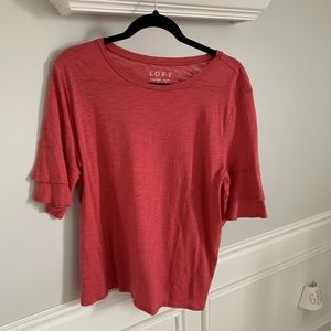 NWOT: Loft Tiered Ruffle Sleeve: Coral: Size Large